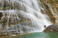 Rainbow in Cola de Caballo waterfall, Ordesa National Park, Pyrenees, Spain