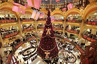 Christmas decorations in Galeries Lafayette department store, Paris, Île-de-France, France