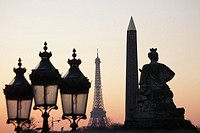 Sunset at Place de la Concorde with Eiffel Tower in the background, Paris, Île-de-France, France