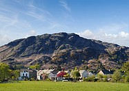 Coniston Village and Coniston Old Man The Lake District Cumbria England UK