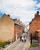 Small street with terraced houses England UK