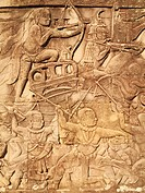 Cambodia - Bas-relief with battle scenes in the Bayon, a temple in the centre of Angkor Thom, the ´Great Capital´ of the Khmer empire in Angkor  The t...