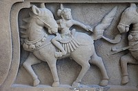 Vietnam, Danang, Museum of Cham Sculpture, Sandstone Carving of Polo Players