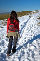 walking on long snow path