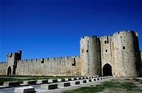 Southern wall of the medieval city of Aigues-Mortes, Gard, France.