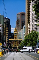 Victoria _ Melbourne _ Elizabeth street _ Flinders railway station at bottom