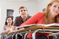 High school students sitting in classroom