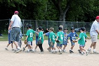 school, teams, groveland, hands, slapping, tball