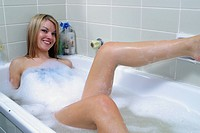 bubble, blonde, relaxing, female, woman, young
