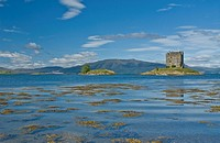 Castle Stalker and Loch Linnhe from nr Appin Argyll & Bute Scotland