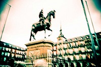 Felipe III statue at Plaza Mayor  Madrid  Spain