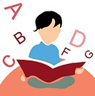 kid reading a book, white background with alphabets