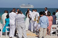 Florida, Miami Beach, Atlantic Ocean, public beach, seashore, destination wedding, ceremony, Black, man, woman, couple, guest, groom, bride, marriage,...