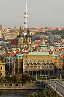 Panorama of old part of Prag with Vltava