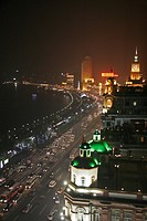 night, person, shanghai, bund, china, people