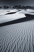 Black and white sunrise over Mesquite Flat Sand Dunes,Death Valley national park