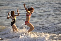 beach, young, surf, enjoying, girls, two