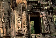 sculptures, through, relief, temple, ancient, passageway