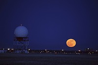 moon, airport, regina, rising, full