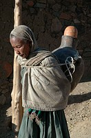 carrying, water, ethiopia, person, people, woman