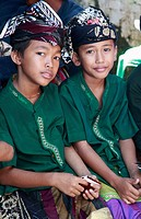 Indonesia, Bali, two boys, traditional dress,