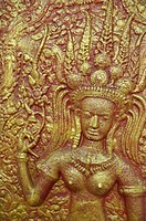 Phnom Penh (Cambodia): Buddhist bas-relief by the Wat Phnom