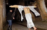 ´Empalaos´ impaleds, Holy Week in Valverde de la Vera  Empalao and cirineo Family Caceres province, Extremadura, Spain