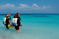 Two Female Divers, Indian Ocean, Maldives Island