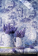 Still_Life of blue muscari and blue+white jugs