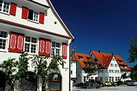 Typical houses in Isny im Allgäu, Baden-Württemberg, Germany