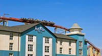 The Big One roller coaster and Big Blue Hotel,Blackpool Pleasure Beach
