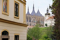 View of the cathedral Kutna Hora village Czech republic