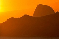 Silhouette of cliffs at the seaside, Hawea Point, Poelua Bay, Maui, Hawaii, USA