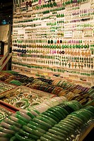 Jade Market YAU MA TEI HONG KONG Stall of jade necklaces bracelets and earings