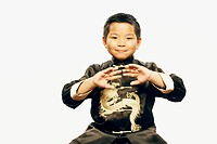 child sport portrait boy practicing martial arts