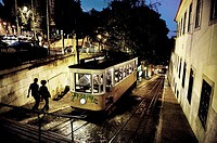 night scene of uptown Lisbon, Portugal