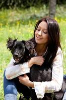 ragazza con il suo cane, esterni