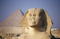 Egypt, Giza, Sphinx, Pyramid of Chephren