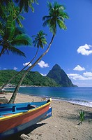 Caribbean, St. Lucia, Souffiere, view on Pitons, fishing boats