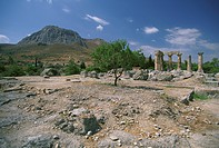 Greece, Corinth, Ancient Corinth, ruins