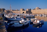 Greece, Rhodes, Commercial Harbor, fishing boats, World Heritage Site