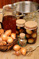 COUNTRY KITCHEN SCENE WITH HOME MADE JARS OF PICKLED ONIONS