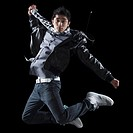 Hip hop dancer jumping in the air