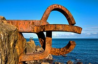 "Sculpture by Eduardo Chillida ""El Peine del Viento"", San Sebastián, Guipuzcoa, Basque Country, Spain"