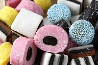 many liquorice allsorts piled up