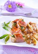 Pork fillet with bacon, sage and chanterelle sauce
