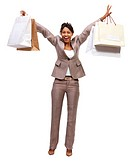 Portrait of a laughing businesswoman holding shopping bags The joy and happiness of women shopping Isolated on white background