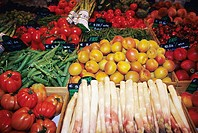 Fruit and vegetables displayed in street market in Vence France