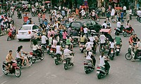 Busy traffic in Old Hanoi, Vietnam
