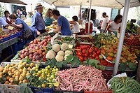 Fruit and vegetable market in Campo de´ Fiori in Rome Itay
